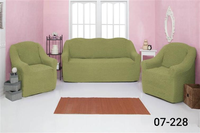 Чехол на диван и два кресла без оборки, натяжной, жатка-креш, универсальный Concordia Фисташковый