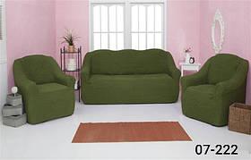 Чехол на диван и два кресла без оборки, натяжной, жатка-креш, универсальный Concordia Зеленый