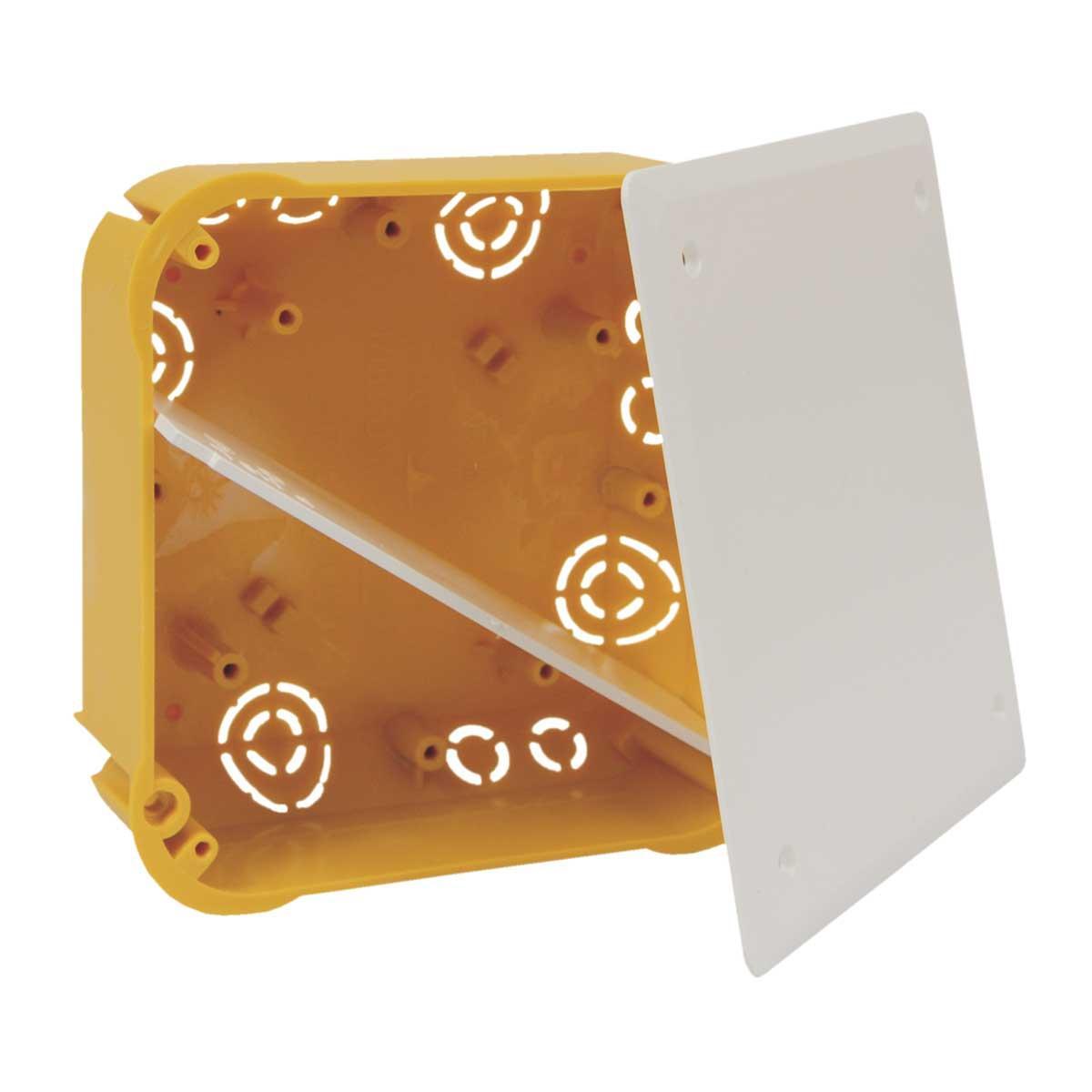 Коробка розподільча з кришкою ПВХ; Жовта; 115х115х45мм
