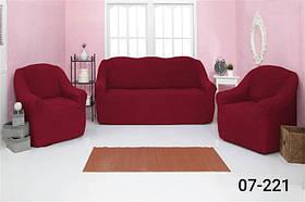 Чехол на диван и два кресла без оборки, натяжной, жатка-креш, универсальный Concordia Бордовый