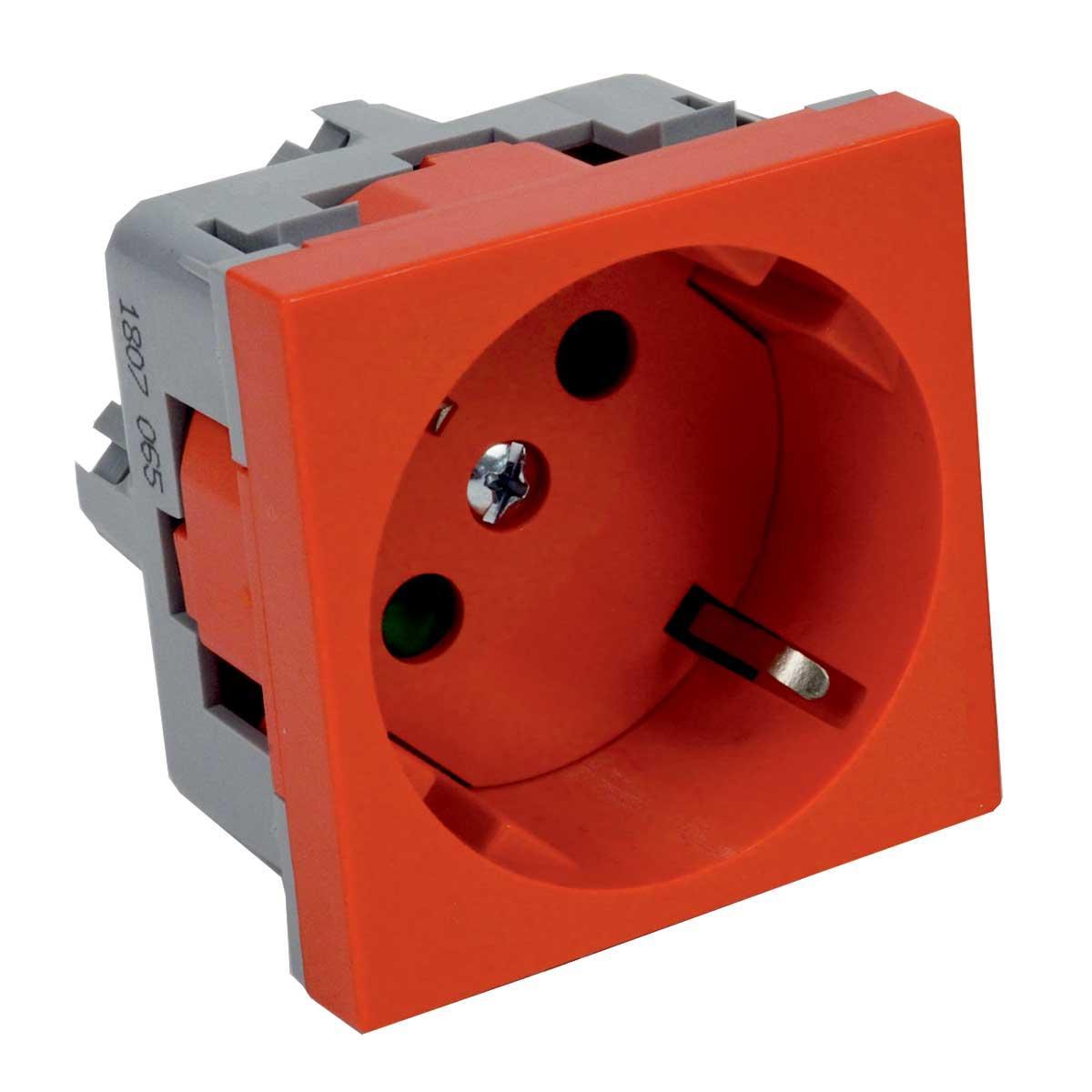 Розетка модульна 45х45, з заземленням, червона; Серія Quadro ;