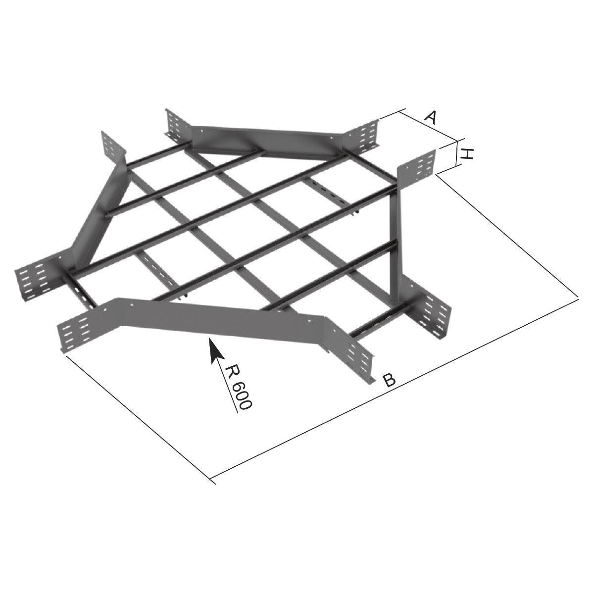 Відгалужувач хрестоподібний на лоток драбинного типу KOPOS; розміри-110x200x1400mm Товщ. метал-1,5 Вага-кг/м