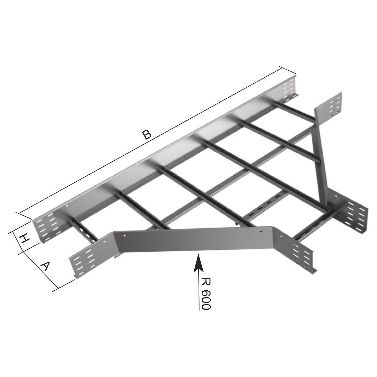 Відгалужувач горизонтальний Т-подібний на лоток драбинного типу KOPOS; розміри-85x600x1800mm Товщ. метал- Вага-кг/м