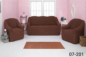 Чехол на диван и два кресла без оборки, натяжной, жатка-креш, универсальный Concordia Коричневый
