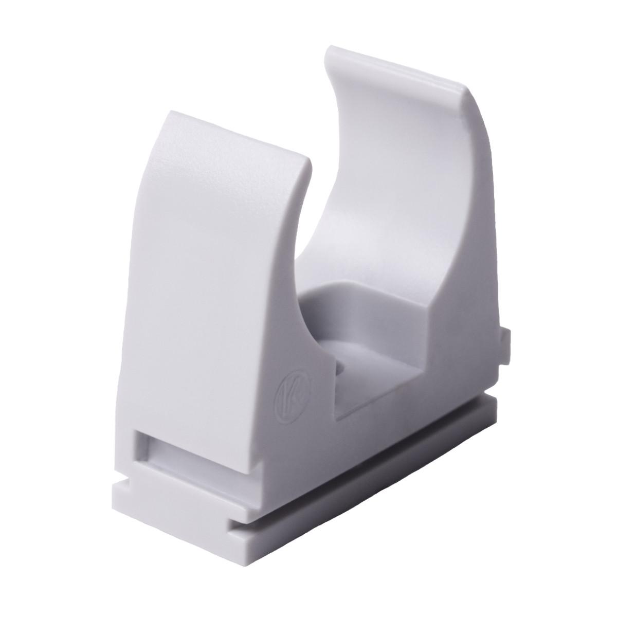 Кріплення труби 20 мм ; Ø20мм; ПВХ;; t застосування -25+60 °с; світло-сіра; Упаковка 10 шт