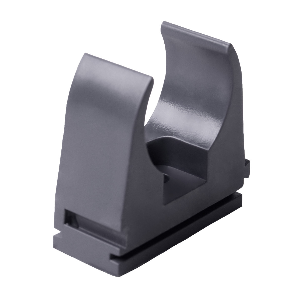 Кріплення труби 20 мм ; Ø20мм; ПВХ;; t застосування -25+60 °с; темно-сіра; Упаковка 10 шт