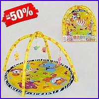 Детский игровой развивающий коврик 815 с дугами и 5 игрушками-погремушками на подвеске для новорожденных