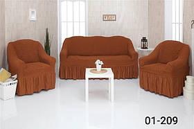 Чехол на диван и два кресла с оборкой, натяжной, жатка-креш, универсальный Concordia Кирпичный
