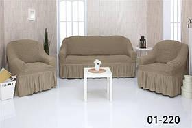 Чехол на диван и два кресла с оборкой, натяжной, жатка-креш, универсальный Concordia Хаки