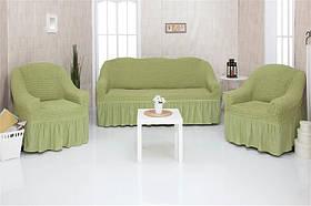 Чехол на диван и два кресла с оборкой, натяжной, жатка-креш, универсальный Concordia Оливковый