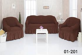 Чехол на диван и два кресла с оборкой, натяжной, жатка-креш, универсальный Concordia Коричневый