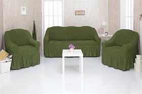 Чехол на диван и два кресла с оборкой, натяжной, жатка-креш, универсальный Concordia Зеленый