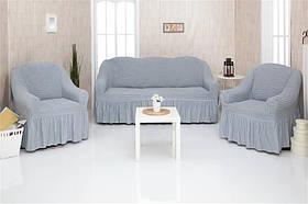 Чехол на диван и два кресла с оборкой, натяжной, жатка-креш, универсальный Concordia Серый