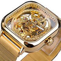 Часы наручные мужские женские скелетоны механические Forsining 1148 All Gold 1059-0044