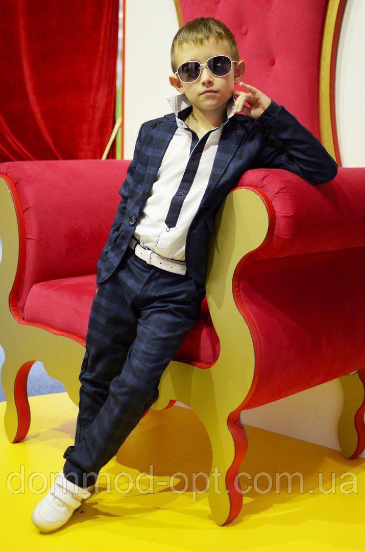 Школьный костюм в клетку пиджак+брюки №921 (р.140-146)