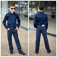 Стильная рубашка для мальчиков №2064 (р.122-146) синий, фото 1