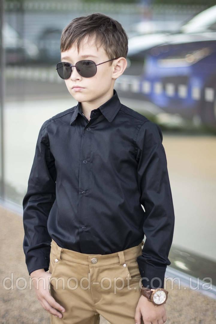 Стильная рубашка для мальчиков №2064 (р.122-146) черный