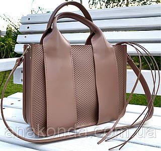 684 Натуральная кожа Сумка женская кофейная кожаная бежевая женская сумка из натуральной кожи среднего размера