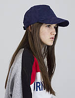 Бейсболка кепка женская стильная на липучке демисезонная замша синяя, фото 1