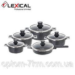 Набор посуды 10 предметов LEXICAL LM-221001-1 антипригарное мраморное покрытие ( 4 кастрюли + сковорода) D