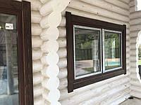 Окна в деревянном доме. Деревянные короба. Наличник.