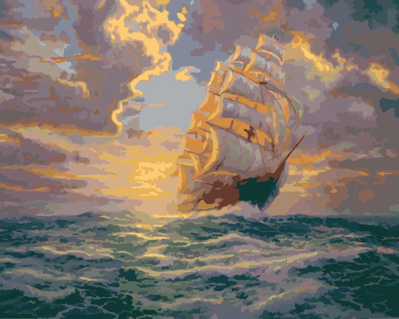 КНО2715 Раскраска по номерам Рассвет под парусами, Без коробки