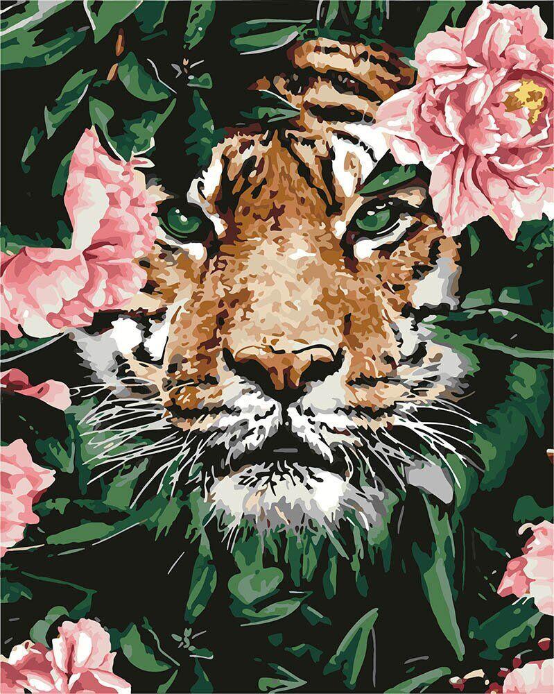 KH4172 Картина-раскраска Тигр в цветах, В картонной коробке