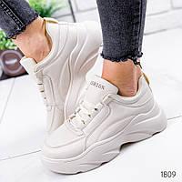 Женские бежевые кроссовки на платформе, ОВЛ 1809, фото 1