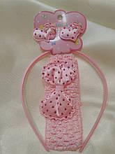 Набор детских аксессуаров для волос розовый (повязка, обруч и резиночки)