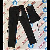 Брюки подростковые для мальчика котоновые  черного цвета оптом GRACE 134---164см