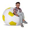 Бескаркасное кресло-мяч, ткань Oxford 600 Den, размер 100х100 (белый/желтый)