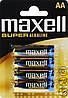 Батарейка Maxell Super Alkaline AA (LR06) blister 4 шт. Для металлоискателя Пират ТЛ, Шанс.