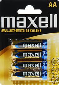 Батарейка щелочная Maxell Super Alkaline AA (LR06) blister 4 шт. Для металлоискателя Пират ТЛ, Шанс.