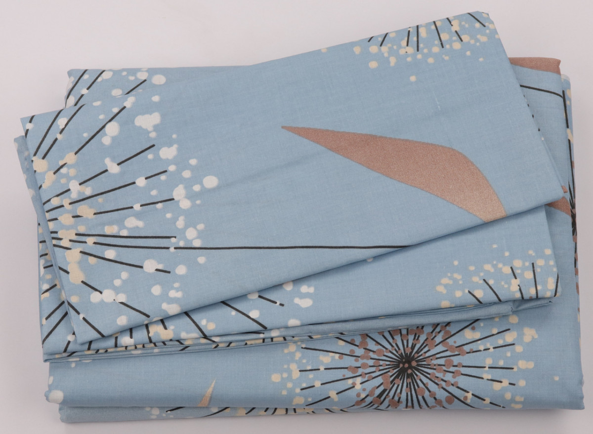 Комплект постільної білизни Бавовна 100 Gold Двоспальний від українського виробника Блакитний 5015