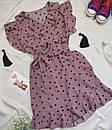 Женское платье в горошек с рюшами темная пудра, фото 2
