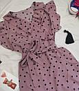 Женское платье в горошек с рюшами темная пудра, фото 3