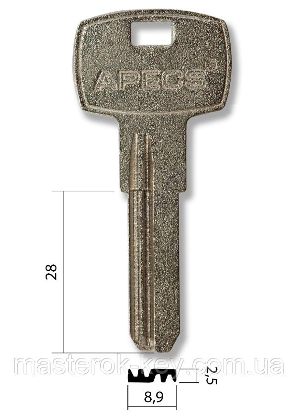 Заготовка ключа APECS под бронь металл