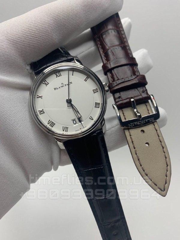 Часы Blancpain Villeret Ultra-Slim Date Steel Black AAA Copy