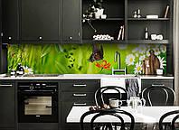 """Скинали на кухню Zatarga """"Бабочка"""" 650х2500 мм салатовый виниловая 3Д наклейка кухонный фартук самоклеящаяся"""