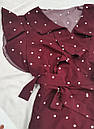 Женское платье в горошек с рюшами марсала, фото 2