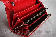 Кошелек красный натуральная кожа, фото 3