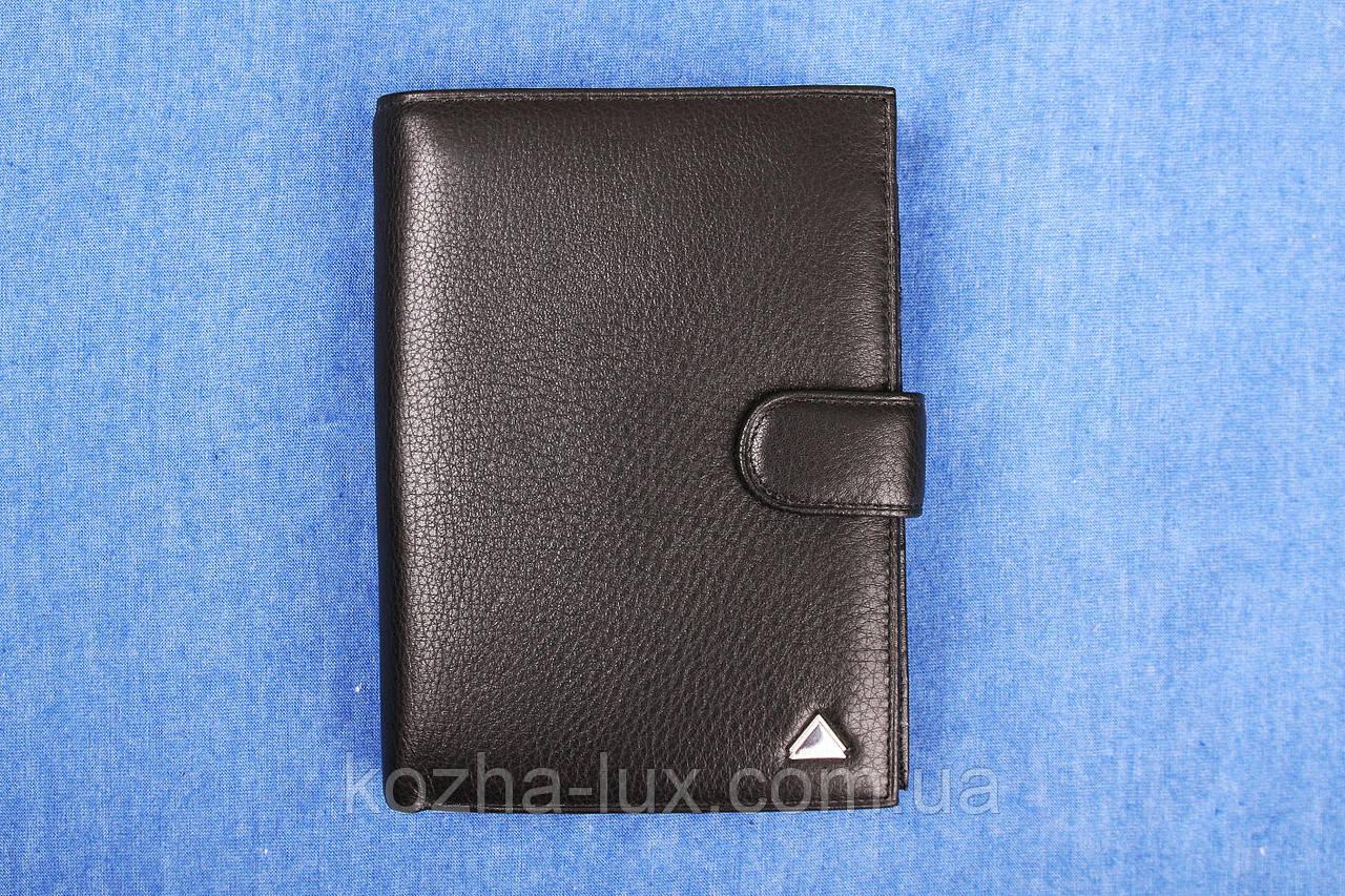 Кожаное портмоне чёрное вертикальное VE-016-14