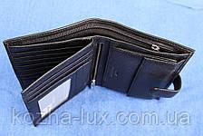 Кожаное портмоне чёрное вертикальное VE-016-14, фото 3