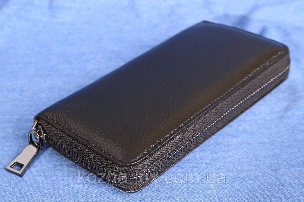 Клатч кошелек черный кожаный