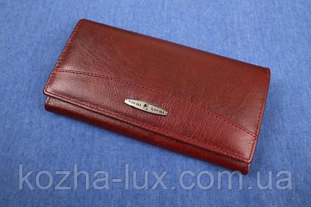 Женский кожаный кошелек бордовый, фото 2