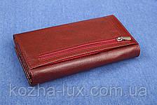 Женский кожаный кошелек бордовый, фото 3