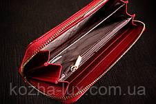 Кошелек темно красный на молнии из кожи, фото 2