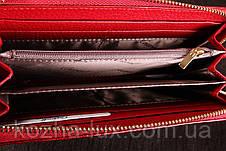 Кошелек темно красный на молнии из кожи, фото 3