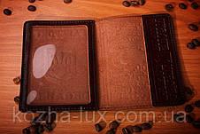 Коричнева шкіряна обкладинка на паспорт, фото 3