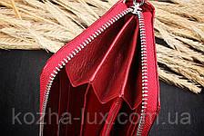 Красный кожаный женский кошелек, фото 2